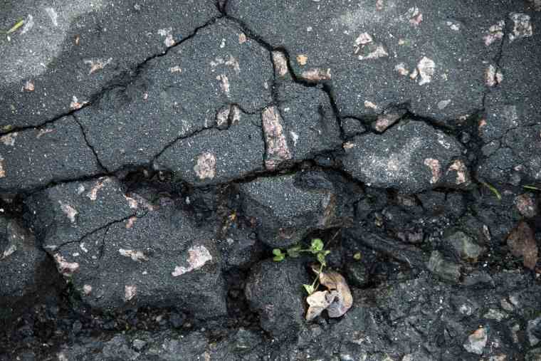 cracks in road surface