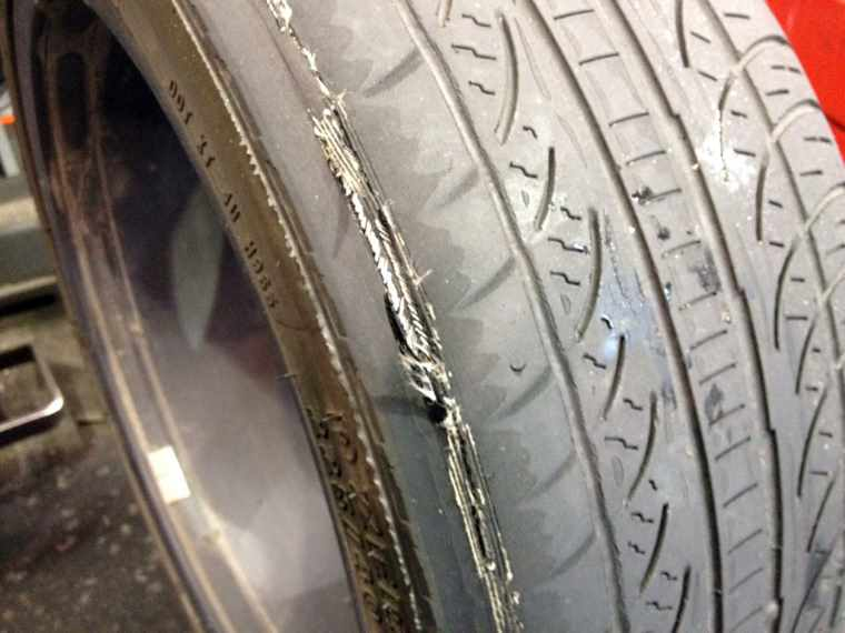 worn out tyre tread