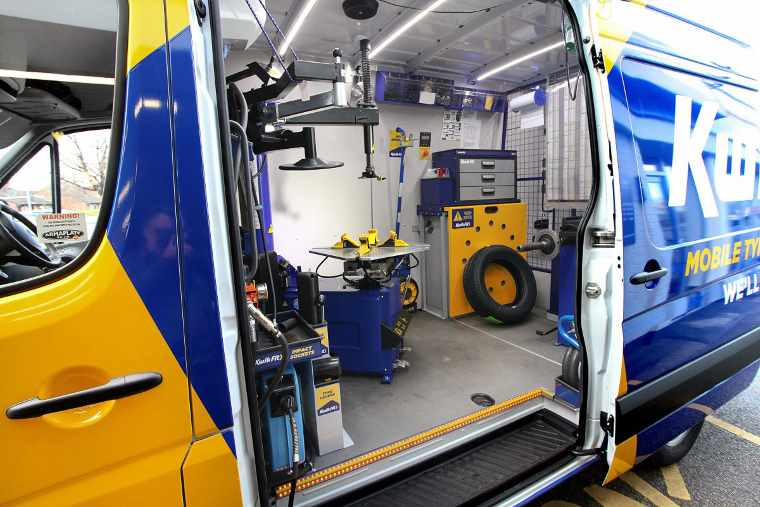 Equipment inside a mobile tyre fitting van