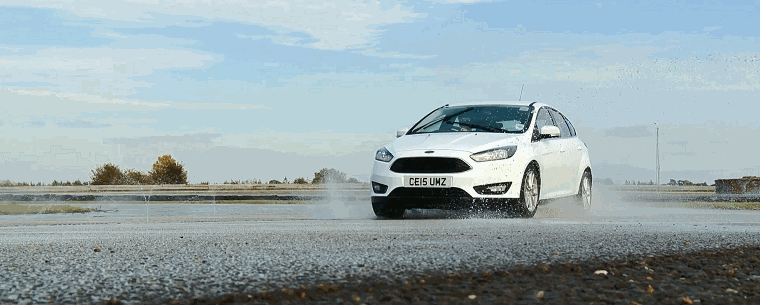 Ford on a wet test track