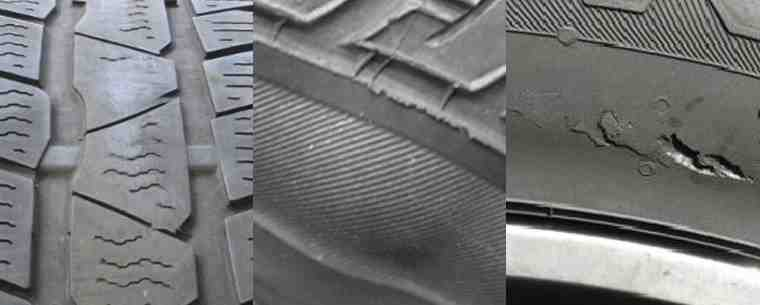 montage of worn and damaged tyres