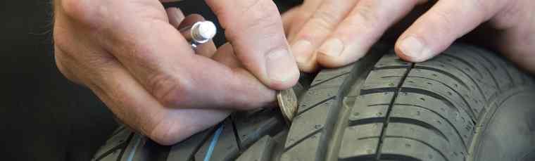 Test 20p na bieżniku opony