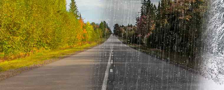 Wet road in winter
