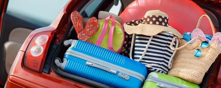 bags and suitcases in car boot