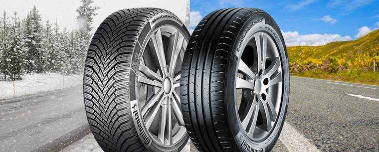winter and summer tyre with seasonal background