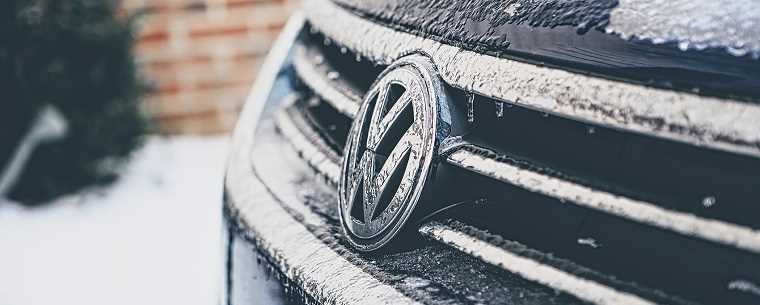 Volkswagen grill on an icy day