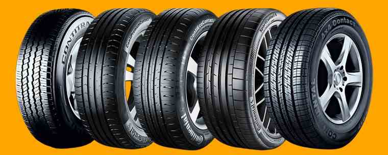 Continental tyres in a row