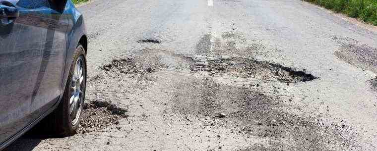 damaged road with potholes