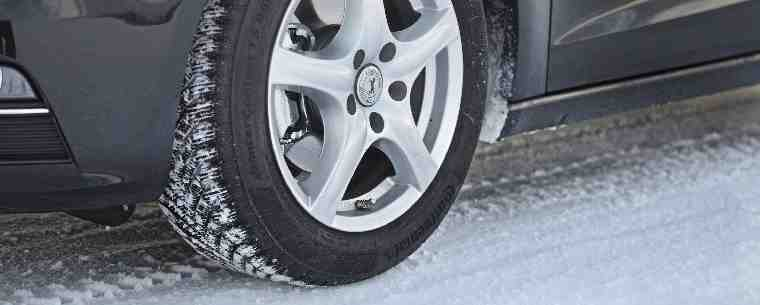 car tyre on a snow covered road