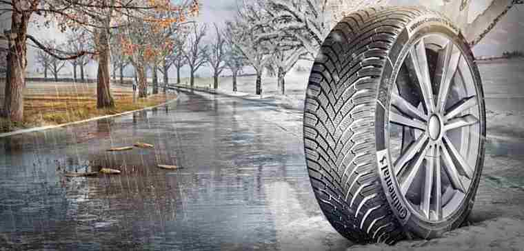 Continental tyre on wet and snowy road