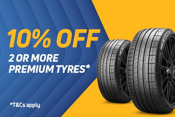10% Off 2 Or More Premium Tyres