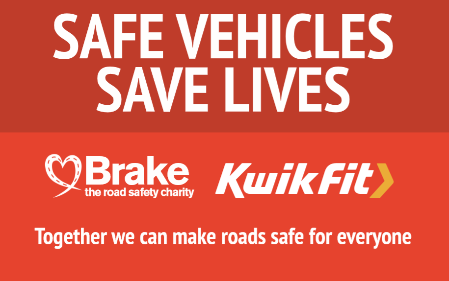 Brake logo with safe vehicles save lives