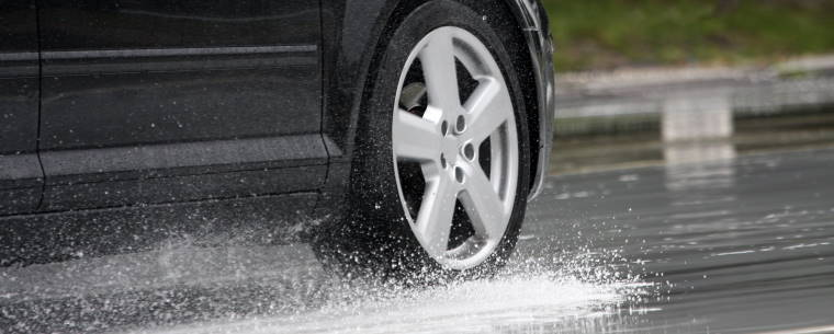 Car Aquaplaning over Wet Road Surface