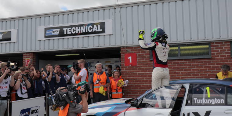 BTCC driver Colin Turkington celebrates victory