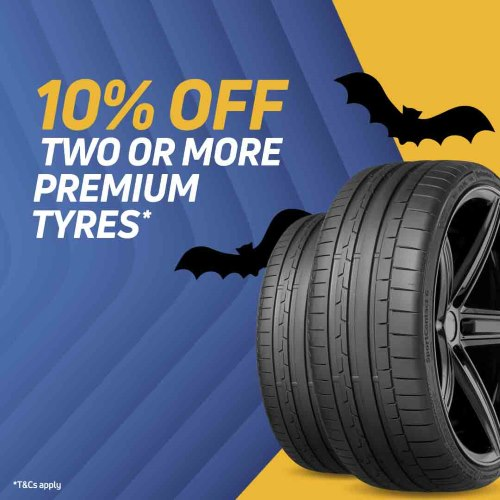 Halloween Sale now on! Get 10% off when you buy 2 or more premium tyres* plus new offers everyday. Ends 31.10.20