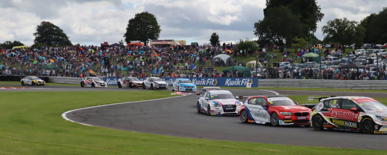 BTCC cars on track at Oulton Park circuit