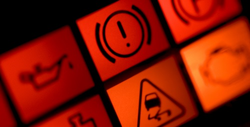 Illuminated car dashboard warning lights