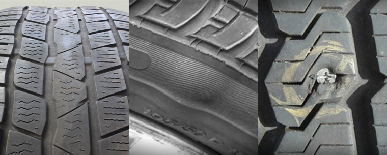 Damaged tyres with cuts, bulges and nails