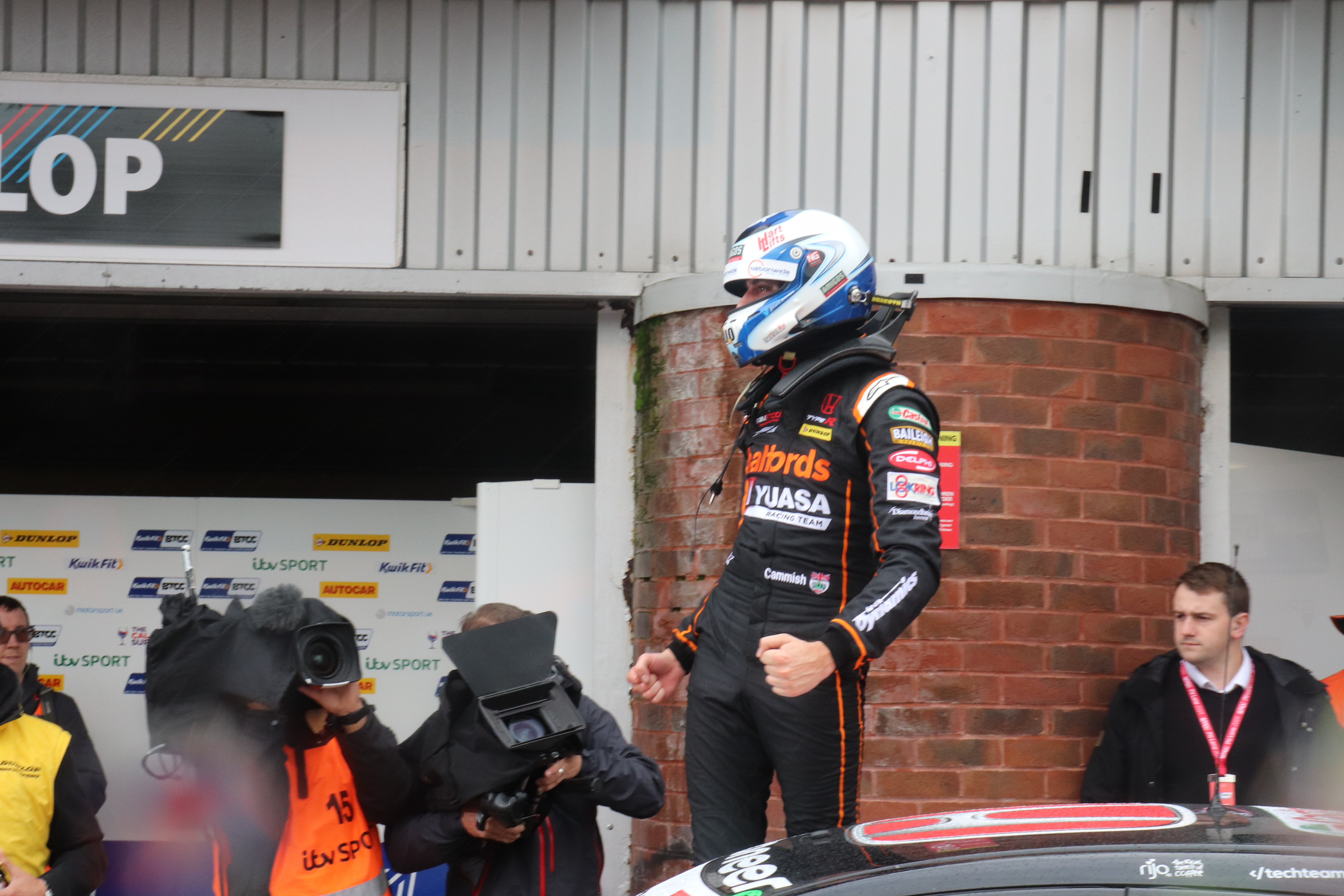 Dan Cammish celebrating win at Brands Hatch
