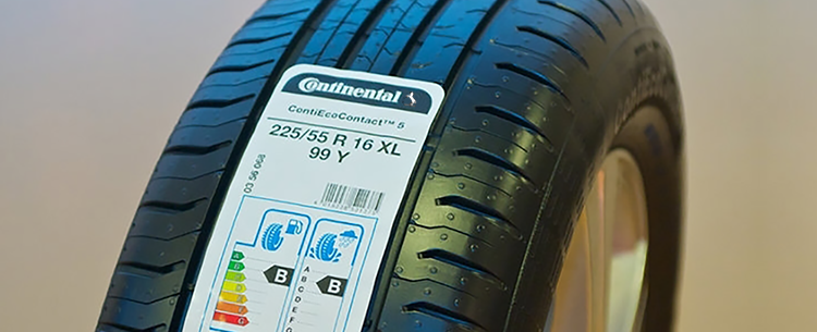 Tyre showing EU tyre label