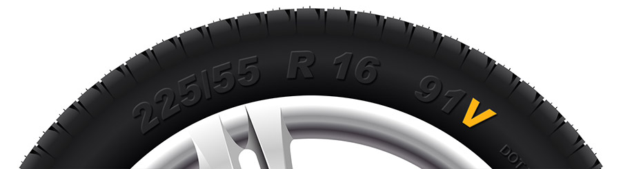 speed rating highlight on tyre sidewall