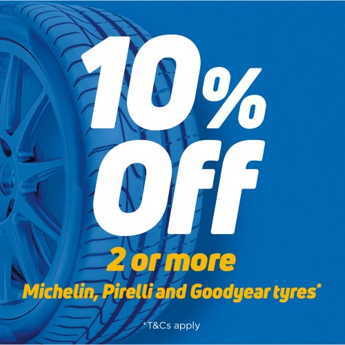Get 10% off when you buy 2 or more Pirelli, Michelin or Goodyear tyres*. Use code PIMIGO at checkout