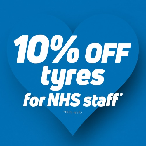 NHS staff can get 10% off all tyres plus 10% off vehicle servicing and batteries. Our way of saying thank you.