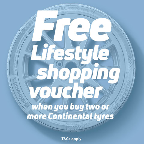 Claim a free Lifestyle shopping gift card when you buy 2 or more Continental tyres plus get 10% off with code CONTI10