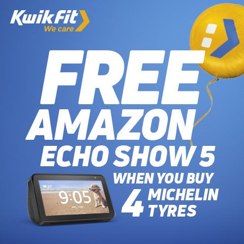 Claim a free Amazon Echo Show 5 when you buy 4 Michelin tyres plus get 10% off when you buy 2 or more tyres with code MICH10