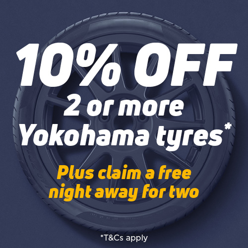 Get 10% off 2 or more Yokohama tyres with code YOKO10 plus claim a one night hotel stay for two people