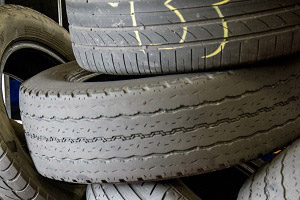 Worn tyres in stack